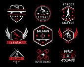 skateboard vintage retro icon badge design illustration,vintage design style, designed for apparel and icon