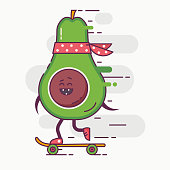 Skateboarding avocado hipster character concept illustration. Happy smiling vegetable with red bandana riding on skateboard. Plant in the action comic illustration.