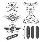 Skateboarding labels badges and design elements in vector