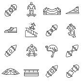 Skateboarding icons set. Skateboarder on the board, thin line design. Skate playground, linear symbols collection. isolated vector illustration