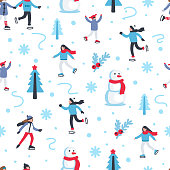Seamless pattern with people skating on ice rink in winter season. Flat style vector illustration.