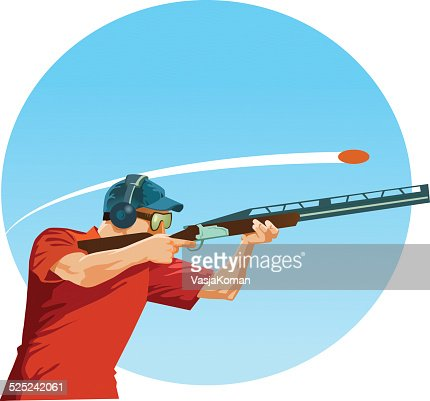 Clay Pigeon Shooter Aiming Shotgun At The Target Vector Art ...