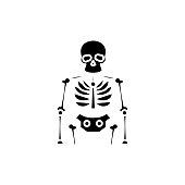 Skeleton black icon concept. Skeleton flat  vector website sign, symbol, illustration.