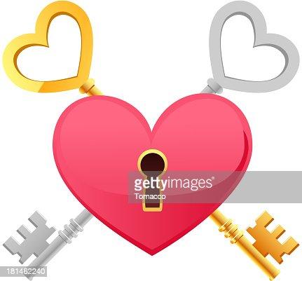 Skeleton Keys Gold Silver Heart Shape keypath : Vector Art
