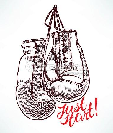 Croquis gants de boxe clipart vectoriel thinkstock - Dessin gant de boxe ...