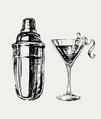 Sketch Cosmopolitan Cocktails and Shaker Vector Hand Drawn Illustration