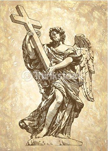 Sketch Digital Drawing Marble Statue Of Angel Vector Art