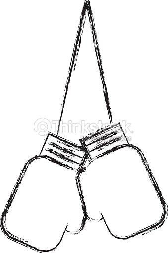 Sketch draw hanging boxing gloves