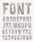 sketch alphabet font on red graph paper in vector format