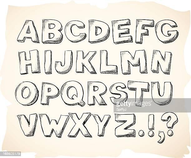 Sketch hand drawn alphabet letters