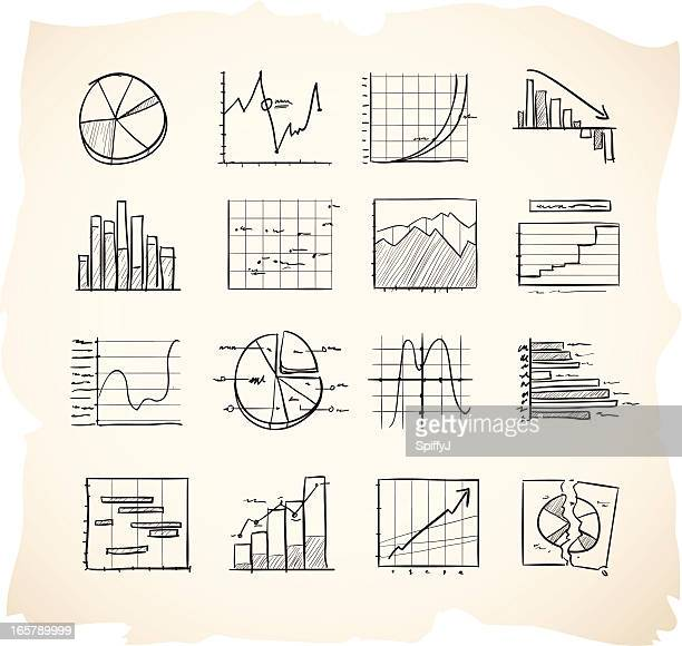 Sketch icons charts and graphs