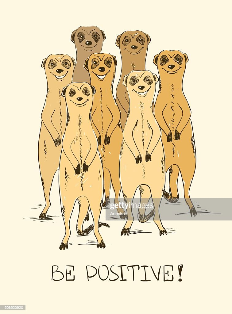 Sketch Illustration With Funny Meerkats. : Vector Art