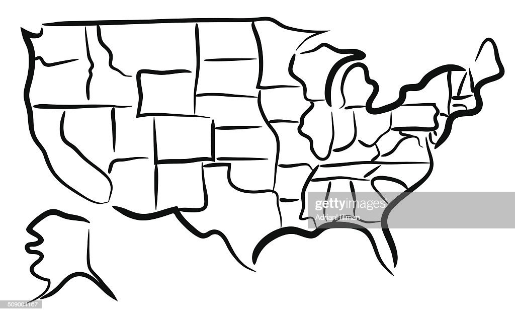 Usa Map Sketch With Pencil On Grid Paper Vector Art Getty Images