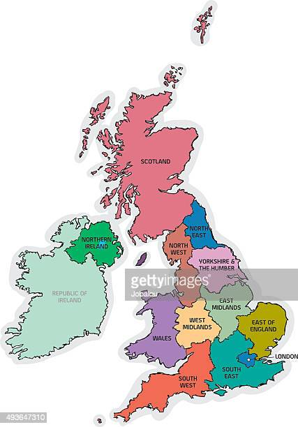 UK Sketch Map with Region Names