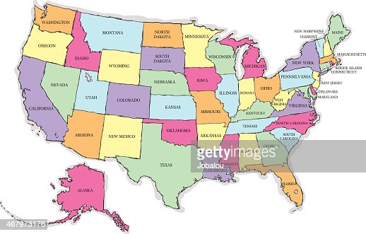 Usa Sketch Map With States Names Vector Art Getty Images - Map of the usa with state names
