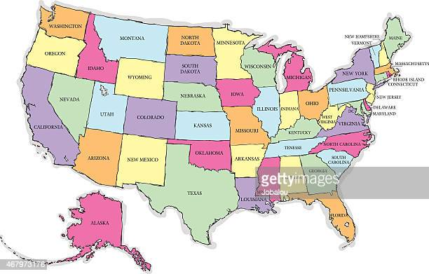 USA Sketch Map With States Names