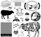 Set of Design elements  and sketch objects, sheep silhouette, tools for knitting and crochet