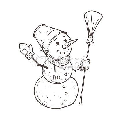 Un Dibujo De Un Muñeco De Nieve Con Una Pala En Su Cabeza Y Una