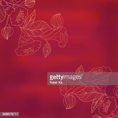 sketch of flowers on a red watercolor background in vintage : Vector Art