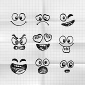 Sketch of hand drawn set of cartoon emoji . Vector illustration