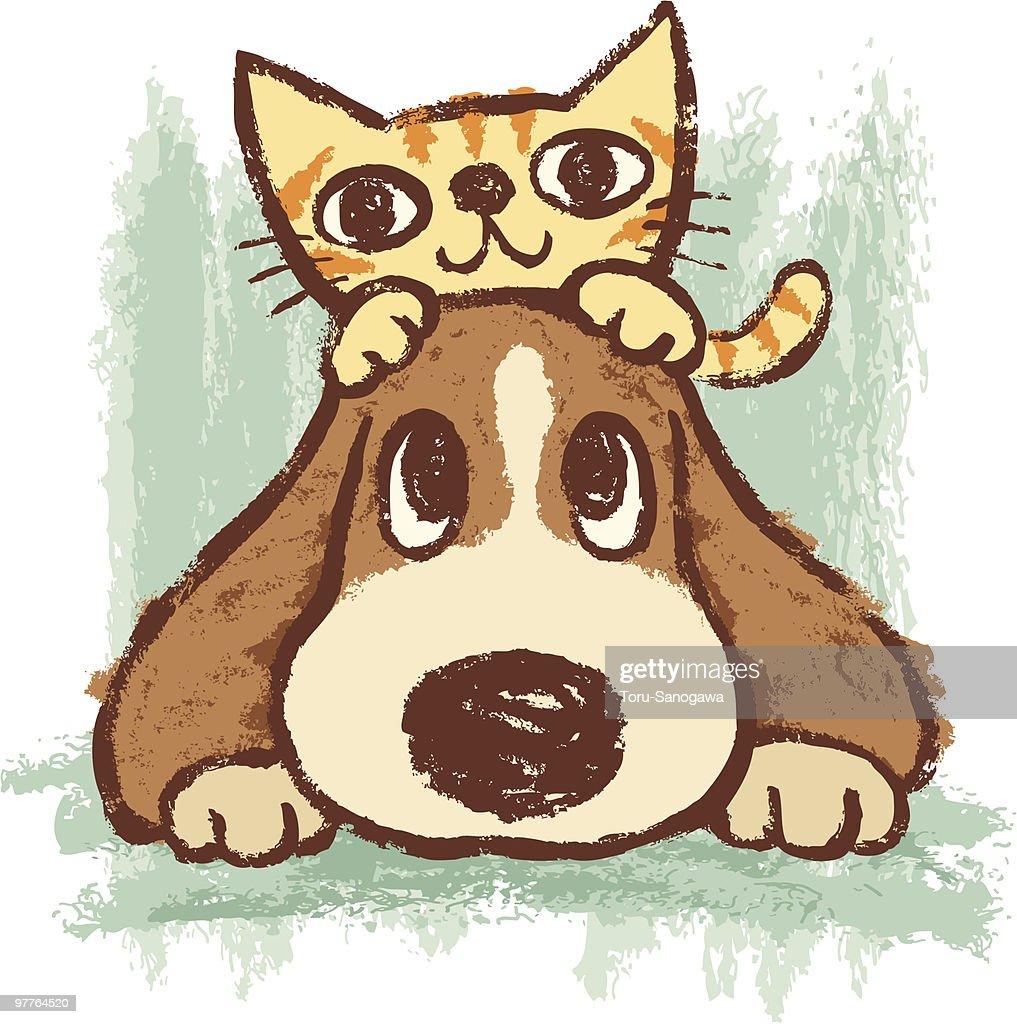 Sketch of kitten and dog : Vector Art