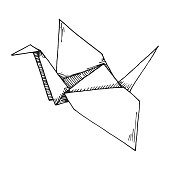 Sketch of origami crane isolated on white background. Vector illustration