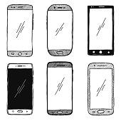 Sketch of smartphones. The set of phones is isolated on a white background. Vector illustration.