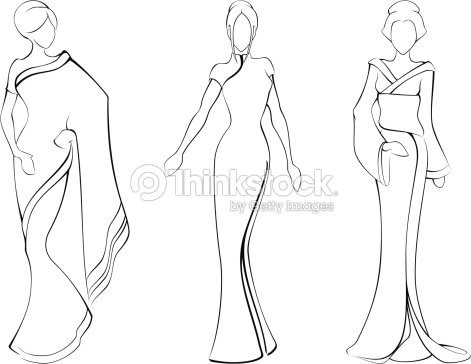 Nude Model Straight Facing Fashion Sketch Template