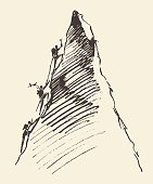 Sketch of a people climbing on a mountain peak, vector illustration