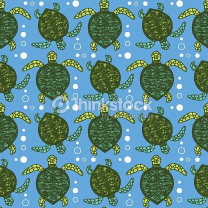 sketch sea turtle pattern vector art thinkstock