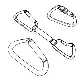 Sketch set of carabiners isolated on white background. Vector