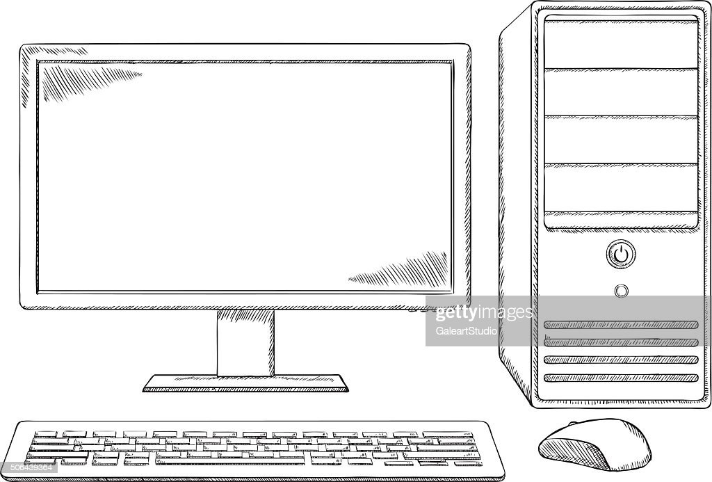 sketch style desktop computer monitor keyboard and mouse vector id506439364 sketch style desktop computer monitor keyboard and mouse vector desktop computer diagram at fashall.co