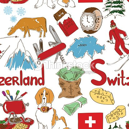 Sketch Switzerland Seamless Pattern Stock Vector Thinkstock