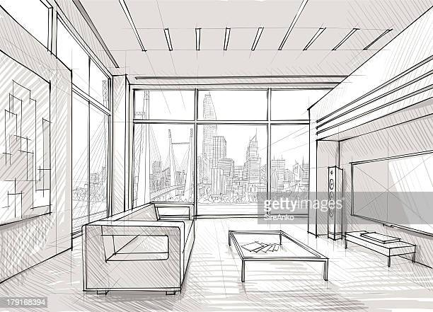 Sketched design of a spacious lounge overlooking the city