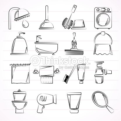 Sketches Of Common Bathroom Objects And Appliances Stock Vector