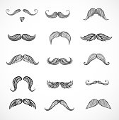 Sketches of moustaches isolated on white background