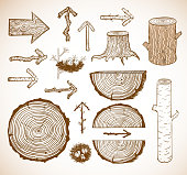 Sketches of wooden elements.