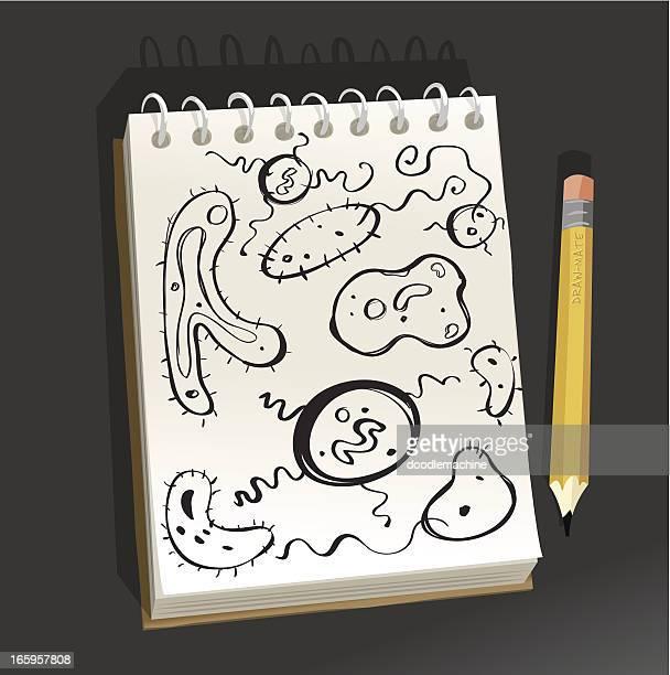 Bloc de dibujo-Celled única microorganismos