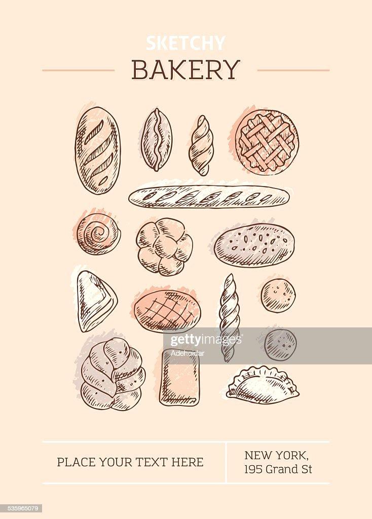 Sketchy Bakery Template : Vector Art