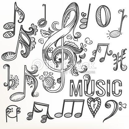 Sketchy Doodle Set Treble Clef And Other Music Symbols Vector Art