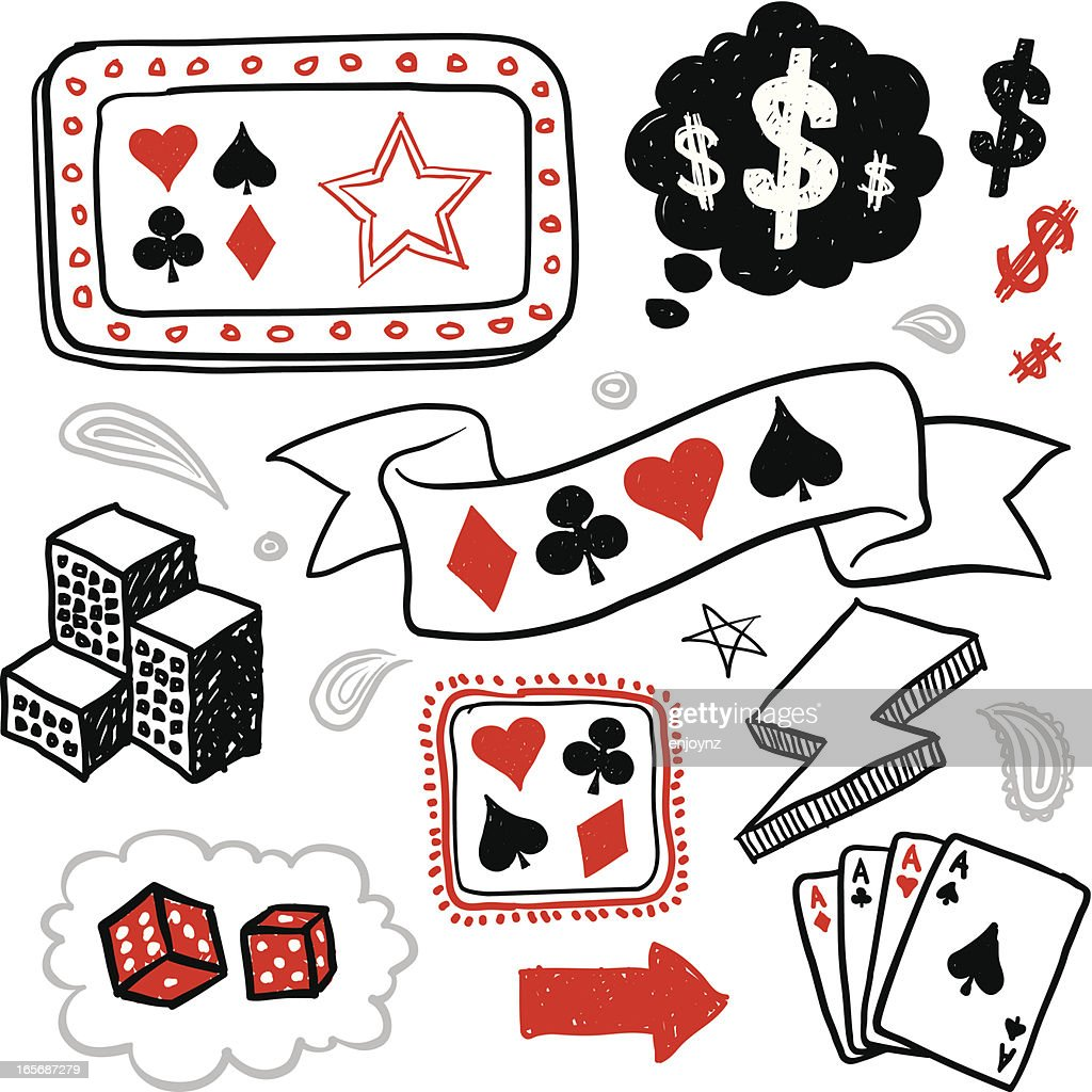 Sketchy gambling icons : Vector Art