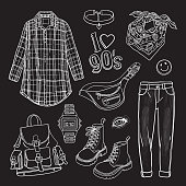 Vector sketchy set with grunge style outfits isolated on blackboard. Black and white illustration of nineties style fashion items. I love 90s