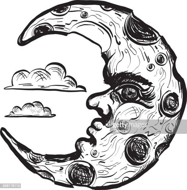 Half Crescent Moon With Face Tattoo: Half Moon Stock Illustrations And Cartoons