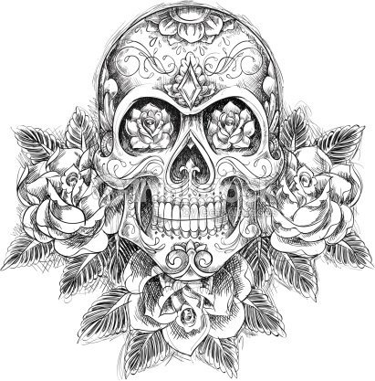 Sketchy Skull With Roses Vector Art | Thinkstock