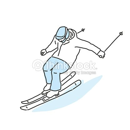 Ski and skiing winter sport, line drawing. hand drawn. vector illustration.