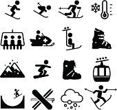 Skiing and snowboarding icons. Professional icons for your print project or Web site. See more in this series.
