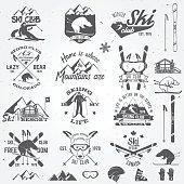Ski club design. Vector illustration. Vector ski club retro badge. Concept for shirt, print, seal or stamp. Ski club typography design- stock vector. Family vacation, activity or travel.