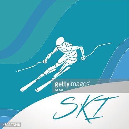 Ski Alpin creative-silhouette. Vektor-illustration : Vektorgrafik
