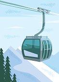 Ski lift. Vector flat illustration