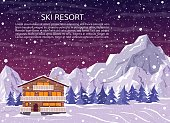 Ski resort house or hotel on mountain landscape, pine forest and falling snow. Winter family house for xmas holidays at night. Vector illustration for greeting card.